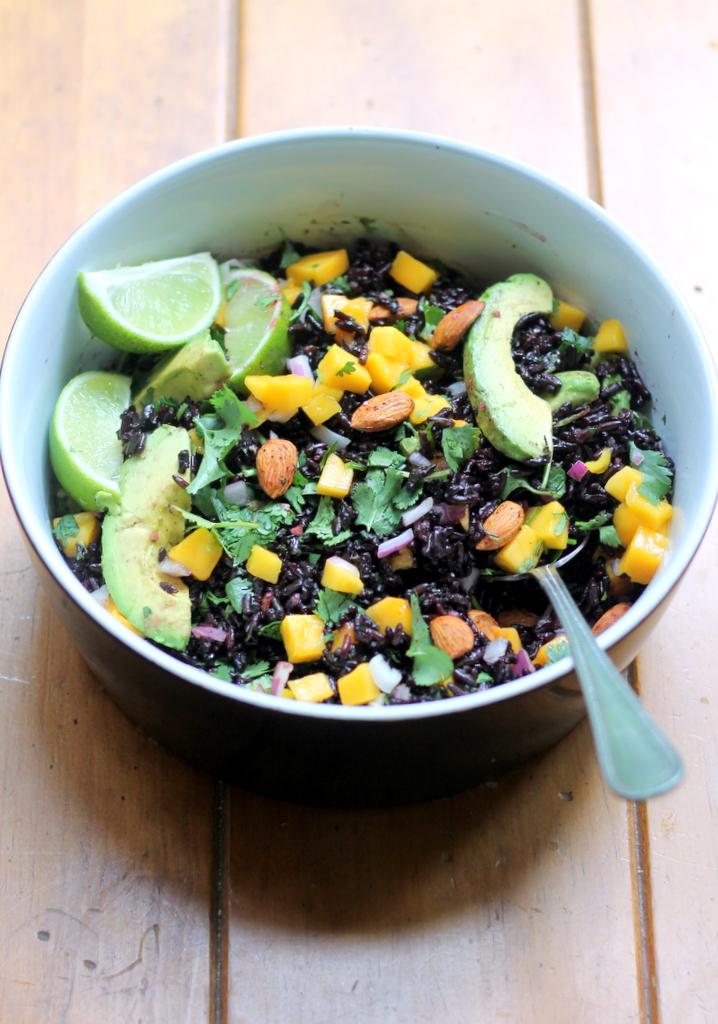 Mango black rice avocado salad