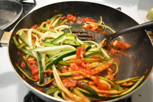 Zucchini Noodles in Red Bell Pepper Marinara